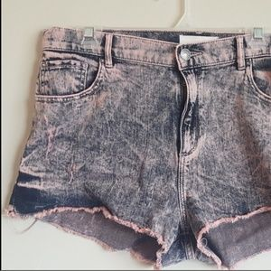 Pink and blue denim distressed shorts 13 retro